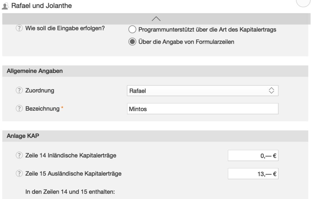 WISO Screenshot Anlage KAP